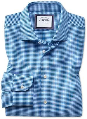 Charles Tyrwhitt Extra Slim Fit Semi-Spread Collar Business Casual Non-Iron Blue & White Spot Cotton Dress Shirt Single Cuff Size 15/34