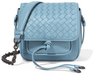 Bottega Veneta - Saddle Mini Intrecciato Leather Shoulder Bag - Light blue $1,750 thestylecure.com
