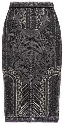 Marchesa Embellished Tulle Pencil Skirt