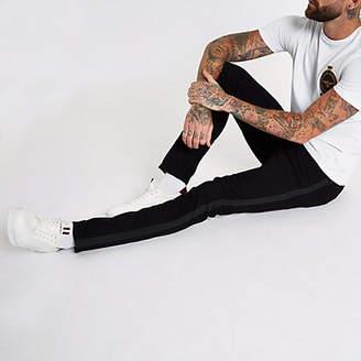 River Island Black Sid tape side skinny jeans