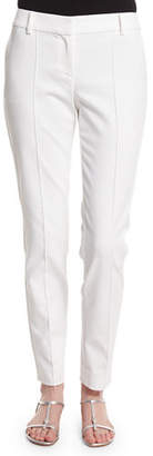 St. John Stretch Micro Ottoman Pintucked Ankle Pants