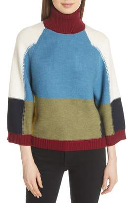See by Chloe Colorblock Crop Sleeve Wool Sweater