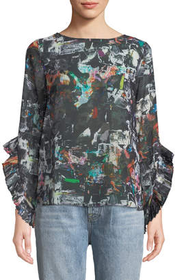 Nicole Miller New York Printed-Chiffon Pleated Bell-Sleeve Blouse