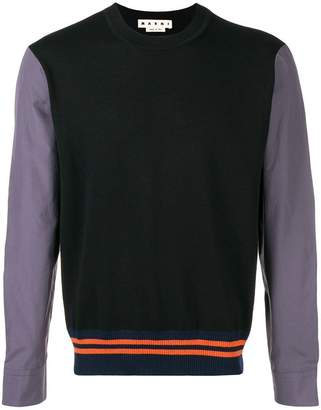 Marni contrast panel hybrid sweater