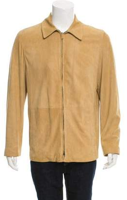 Ralph Lauren Purple Label Suede Zip-Front Jacket