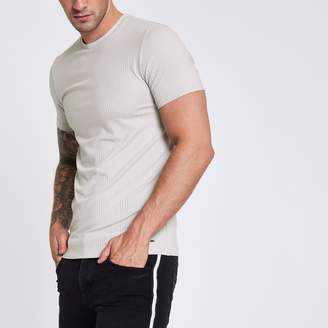 River Island Mens Light Grey ribbed muscle fit T-shirt