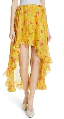 Caroline Constas Adelle Ruffle Trim High/Low Silk Skirt