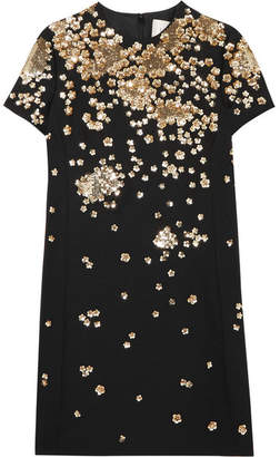 Valentino Sequin-embellished Wool And Silk-blend Mini Dress - Black
