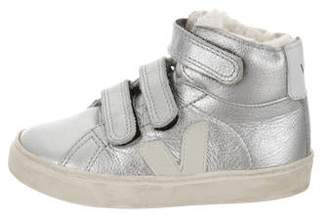 Veja Girls' Metallic High-Top Sneakers