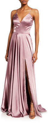 Faviana Charm V-Neck Sleeveless Full Skirt Satin Gown w/ Lace-Up Back