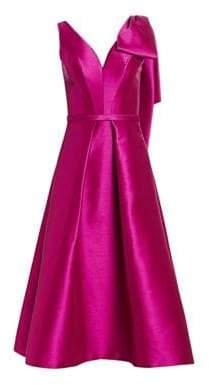 Theia V-Neck Faille Tea-Length Pocket Dress