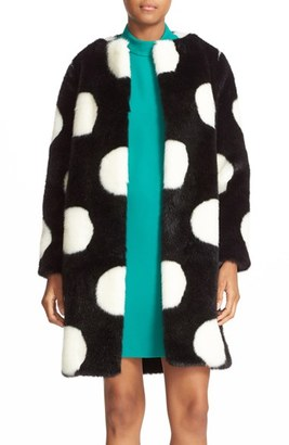 Women's Kate Spade New York Polka Dot Faux Fur Coat $848 thestylecure.com