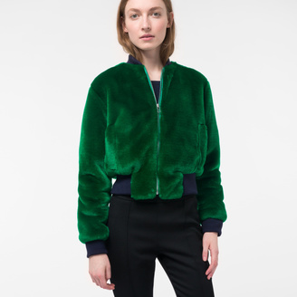 Women's Green Faux-Fur Bomber Jacket $520 thestylecure.com