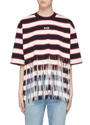 MSGM Logo print fringe hem stripe T-shirt