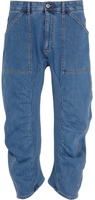 Xenia Cotton Blend-paneled High-rise Tapered Jeans - Mid denim