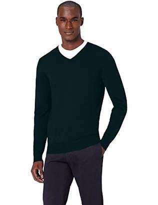 6321d7085b3682 MERAKI Men's Fine Merino Wool V-Neck Jumper,(Size: XX-Large