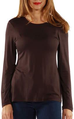 24/7 Comfort Apparel Long Sleeve Knit-Womens T-Shirt