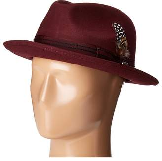 Stacy Adams Pinched Fedora with Stitched Band Fedora Hats