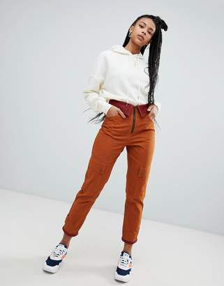 Asos DESIGN waxed PANTS with fold waist detail