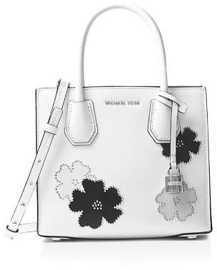 MICHAEL Michael Kors Mercer Studded Floral Medium Leather Messenger