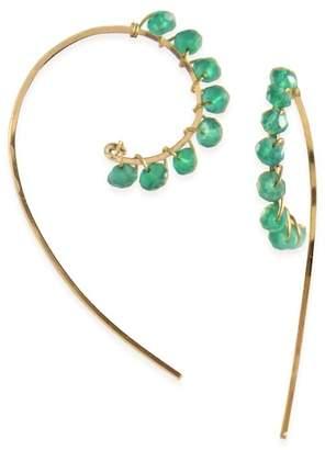 Taolei Green Onyx Threader Hoop Earrings