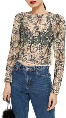 Topshop Floral Embroidered Mesh Top