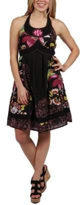 24/7 Comfort Apparel 24Seven Comfort Apparel Kelly Floral Black Halter Dress