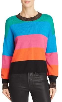 Pam & Gela Metallic-Trim Striped Cropped Sweater