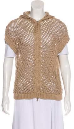 Brunello Cucinelli Open Knit Zip-Up Vest