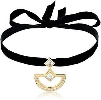 Nicole Miller New York Crescent Velvet Gold Pendant Choker Necklace