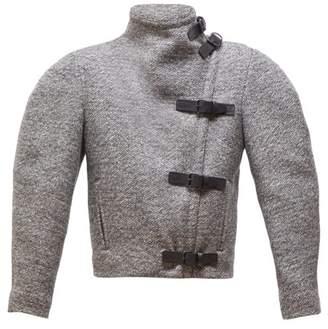Isabel Marant Nate Buckled High Neck Wool Blend Jacket - Womens - Grey