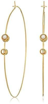 Dogeared Playing By Ear Wing Lip Card Pearl And Opalescence Bezel On Large Hoop Earrings
