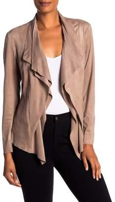 Catherine Malandrino Faux Suede Drape Front Jacket