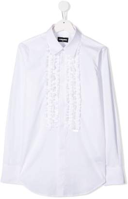 DSQUARED2 TEEN ruffle front shirt