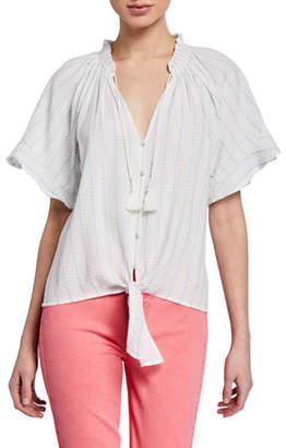 Paige Harmony Dot-Print Short-Sleeve Top