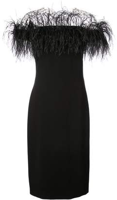 Monique Lhuillier feather embellished off-shoulder dress