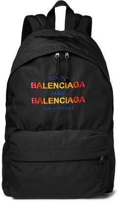 Balenciaga Explorer Logo-Embroidered Canvas Backpack - Black