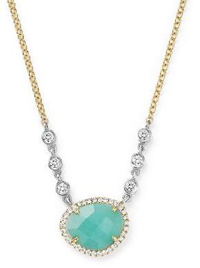 """Meira T 14K White and Yellow Gold Amazonite Necklace with Diamonds, 16"""""""