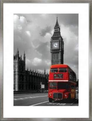 Westminster 1art1® London Poster Art Print and Frame (MDF) Pewter - Big Ben, Red Bus, Palace (32 x 24 inches)