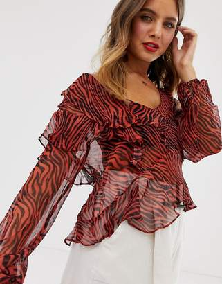Stevie May Walk On By ruffle animal print blouse