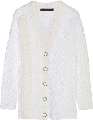 Alexander Wang - Cable-knit Wool-blend Cardigan - Ivory $795 thestylecure.com