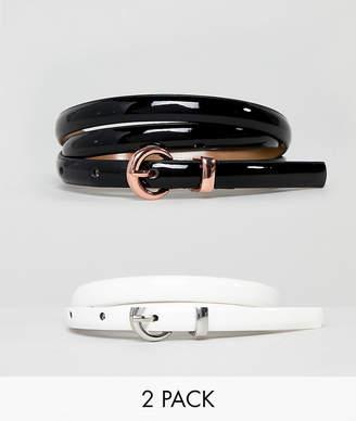 Asos Design DESIGN 2 Pack Skinny Waist & Hip Belts In Patent