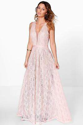 boohoo NEW Womens Boutique All Lace Plunge Neck Maxi Dress in Polyester