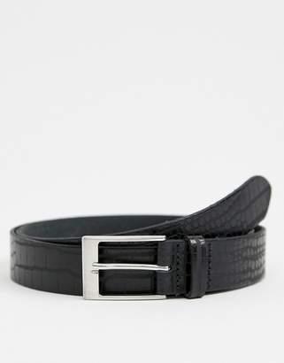 Asos DESIGN leather slim belt in black crocodile emboss