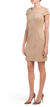 Short Sleeve Faux Suede Dress