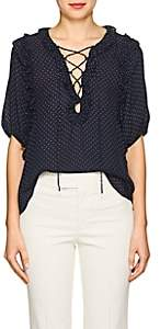 Icons Women's Polka Dot Silk Lace-Up Blouse