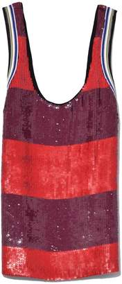 3.1 Phillip Lim Striped Sequin Tank in Poppy Red/Chocolate