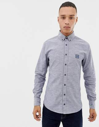 BOSS Mabsoot slim fit button down oxford shirt in navy
