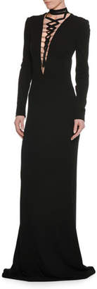 Tom Ford Deep-V Lace-Up Long-Sleeve Viscose Jersey Evening Gown