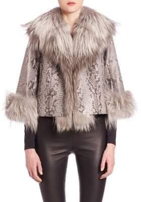 The Fur Salon Python and Fox Fur Jacket